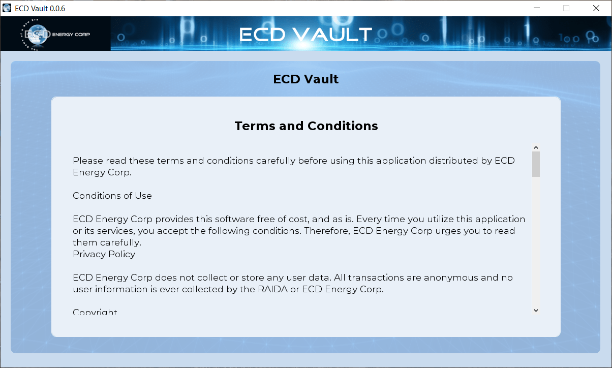 ECD Vault - Terms & Conditions