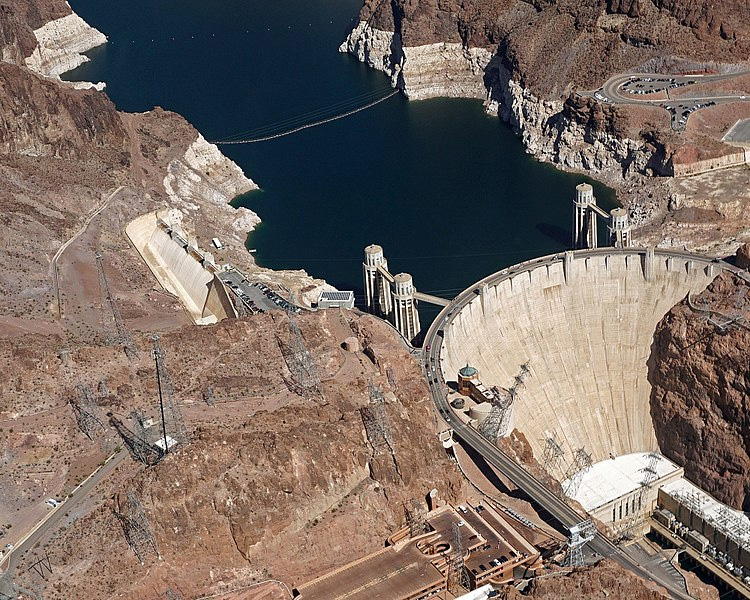 Aerial view of Hoover Dam Showing Four Intake Towers which Gradually Funnel Water Towards the Powerhouse