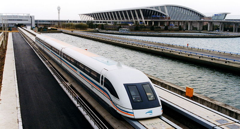 MAGLEV Train Leaving the Pudong International Airport in Shanghai