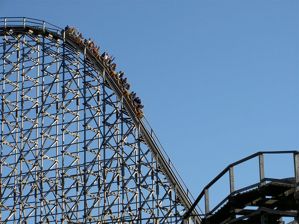 A Roller Coaster Exhibiting a Large Component of Kinetic Energy